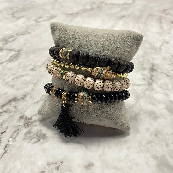 Beaded Stacking Bracelets - Natural Black
