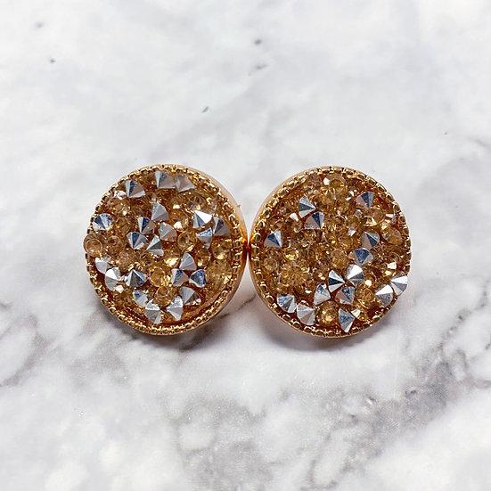 Rhinestone Stud Earrings - Rose Gold