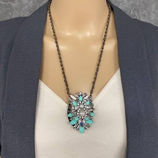 Mint Stone Long Chain Pendant Necklace