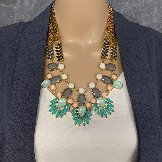 Double Chain Turquoise & Blush Statement Necklace