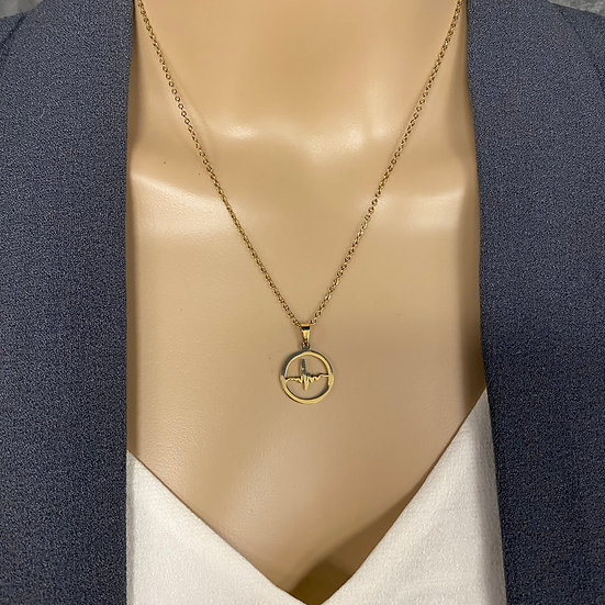 Gold Chain Necklace with Nurse Heartbeat Pendant