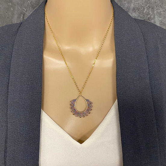 Pink & Purple Seed Bead Gold Chain Pendant Necklace