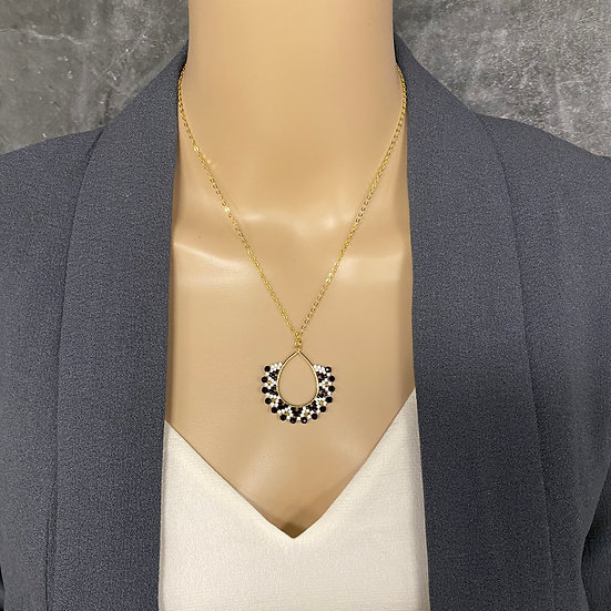 Black & White Miyuki Bead Gold Chain Pendant Necklace