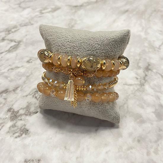 Beaded Stacking Bracelets - Nude