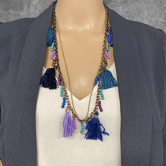 Beaded Segment Long Chain Tassel Necklace