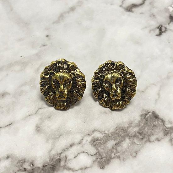 Bronze Lion Head Stud Earrings