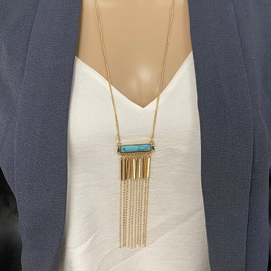 Turquoise Stone Long Chain Tassel Necklace