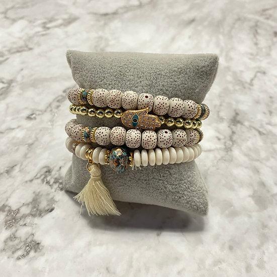 Beaded Stacking Bracelets - Natural