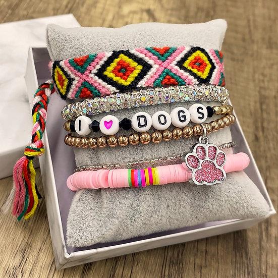 Giving Chains Bracelet Set - I <3 Dogs