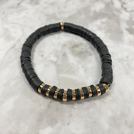 Black with Gold Stripe Heishi Stretch Bracelet