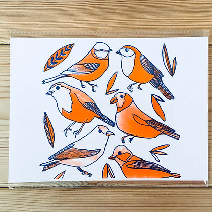 Bird Risograph print