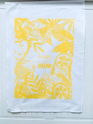 Happy go yellow tea-towel
