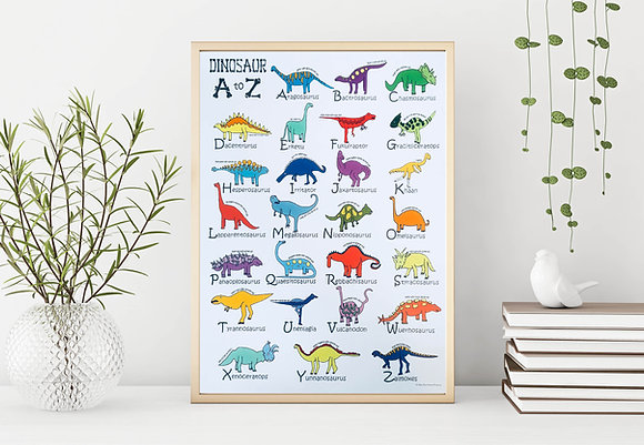 Dinosaur A to Z poster-A3