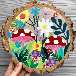 Commissioned oak circle hand painted flowers and toadstalls