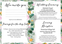 Wedding invitation inside pages