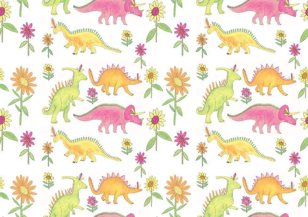 Flower Dinosaurs repeat pattern