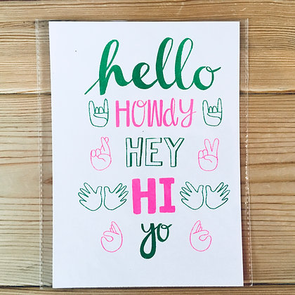 Hello, howdy, hey Risograph print