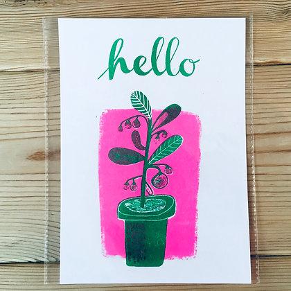 Hello pot plant Risograph print