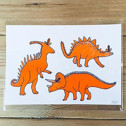 Dinosaur Risograph print