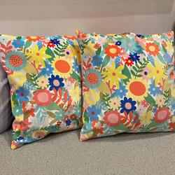 Printed fabric design, hand made cushions