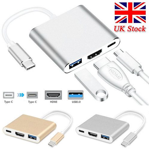 USB-C 4K HDMI USB 3.0 3 in 1 Hub Adapter Cable For Apple Macbook UK