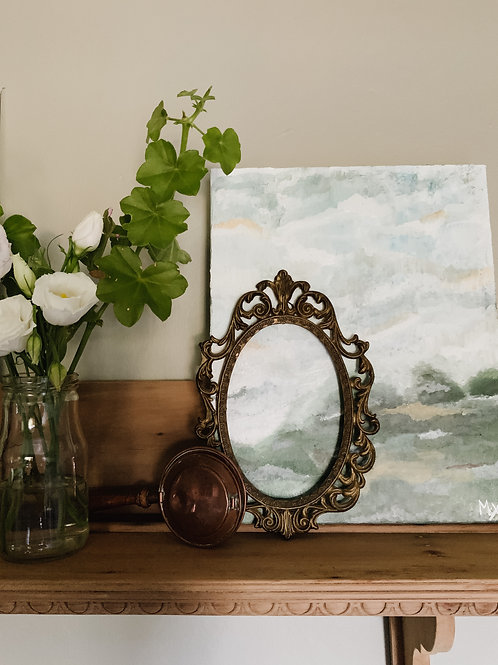 Small Antique Oval Metal Frame