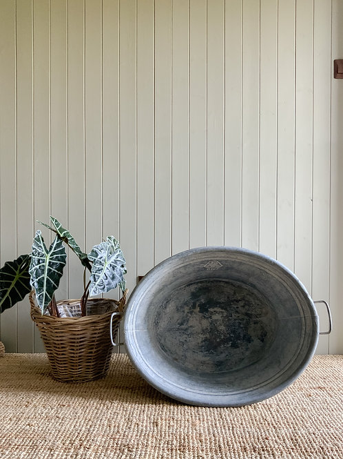 Vintage Old Oval Galvanised Tin Bath Tub/Garden Bulb Planter/ Container Metal