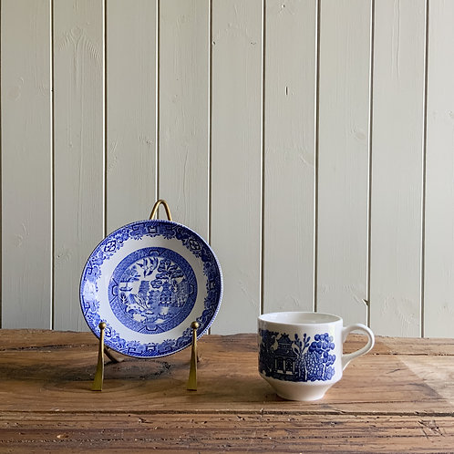 Antique blue and white Willow Pattern Plate and Cup