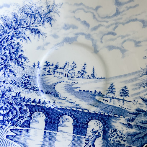 A small vintage blue and white transfer decorated platemade by Crown Ducal