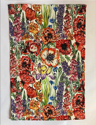 Tea Towel |Summer Blooms White