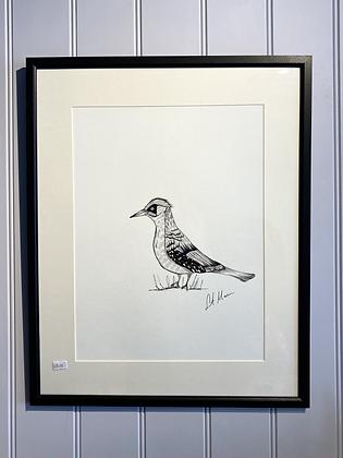 Woodpecker Framed Original Illustration