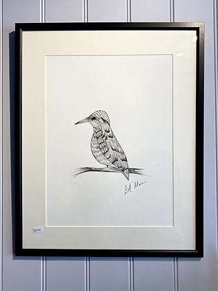 King Fisher Framed Original Illustration