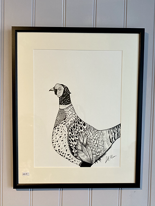 Pheasant Framed Original Illustration