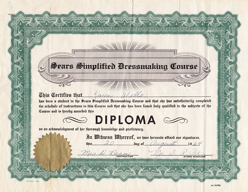 Sears Sewing Diploma 1964