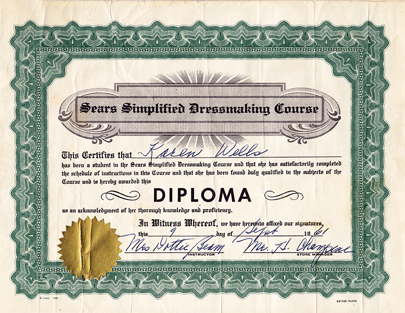 Sears Sewing Diploma 1961