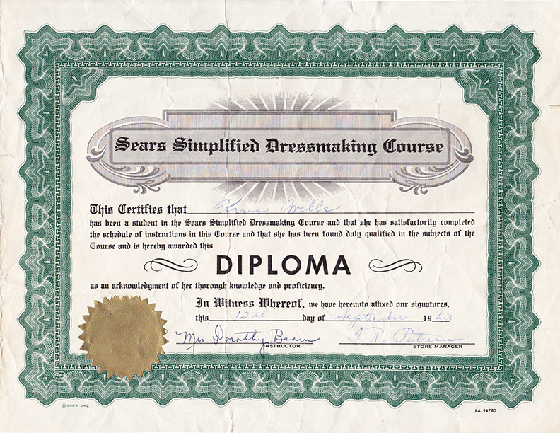 Sears Sewing Diploma 1963