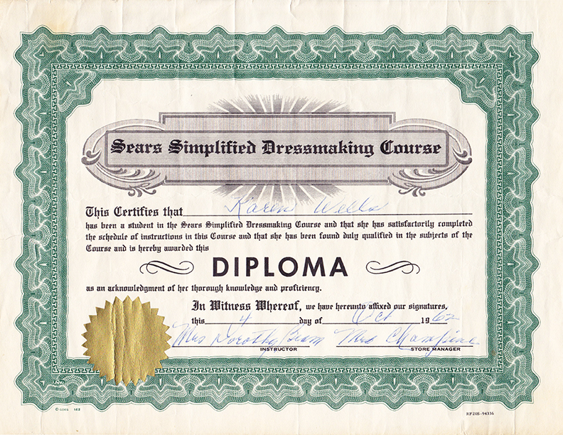Sears Sewing Diploma 1962