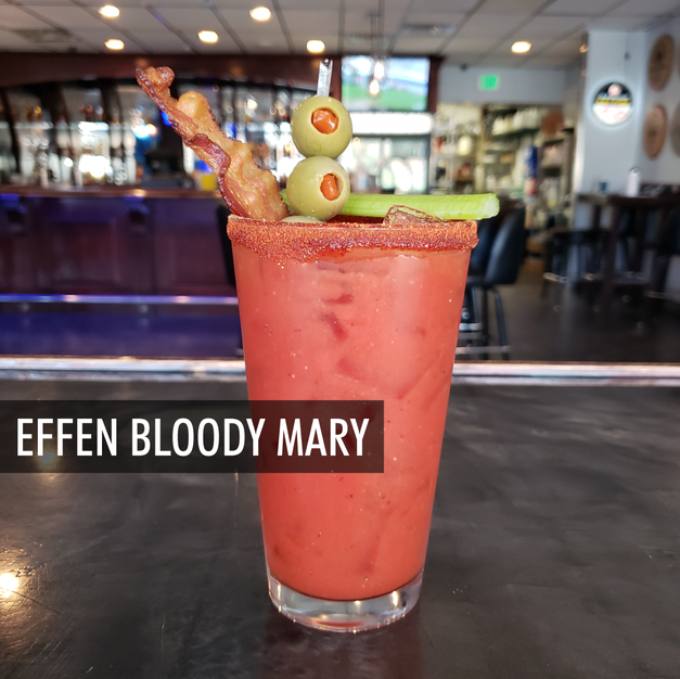Effen Cucumber, Olive Juice, Hot Sauce, Mary Mix, Cowbell Rim + all the fixins
