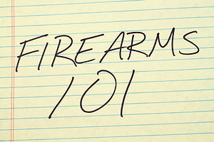 The words _Firearms 101_ on a yellow leg