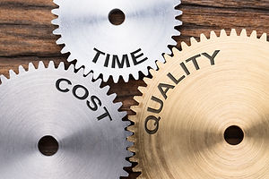 Closeup of time  cost and quality interl
