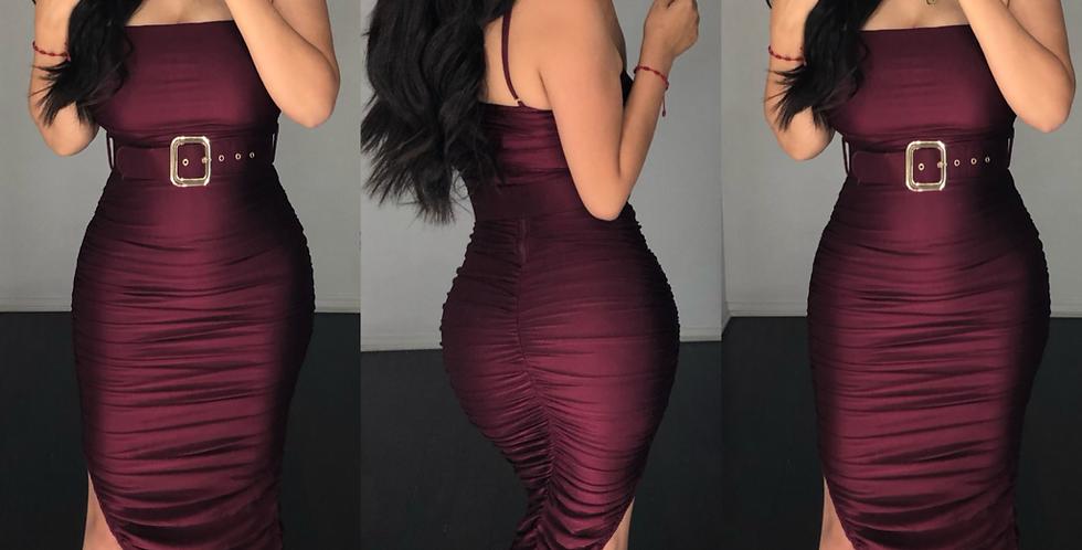 Athena (Burgundy) Dress