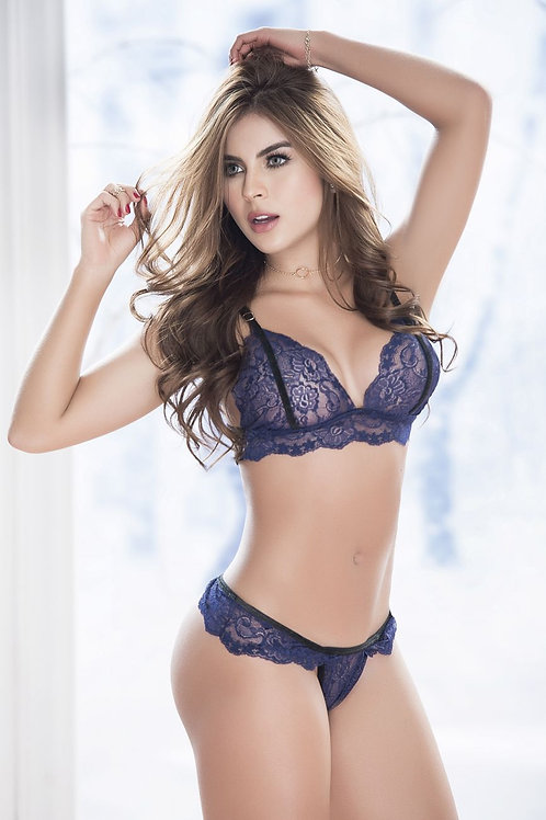 Lace triangle top with double strap lacey back BLUE