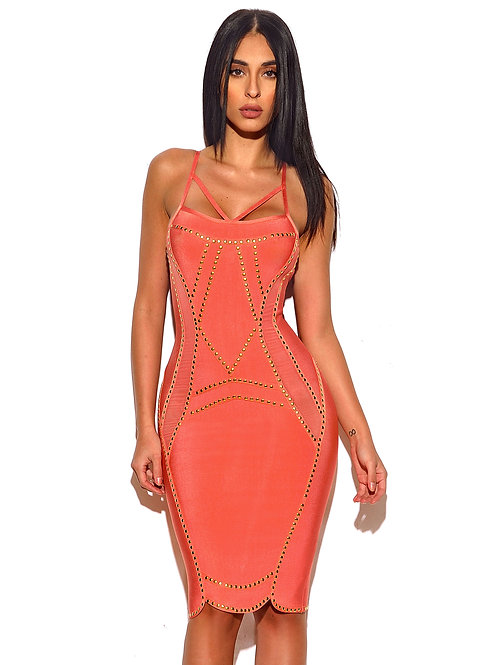 Pink Bandage Dress with Gold Studded Hardware