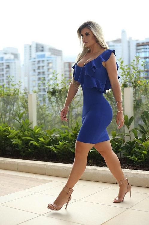 KATE RUFFLE DRESS (BLUE)