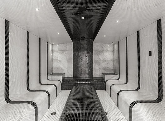 Spa or sauna relaxation room black and white tiles and modern design