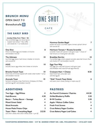 One Shot Cafe - Brunch Menu