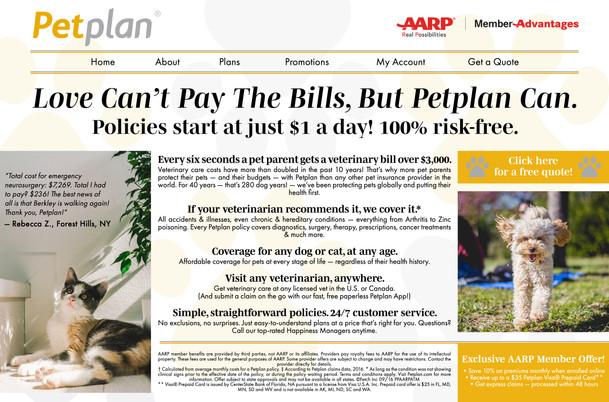AARP + PetPlan Landing Page