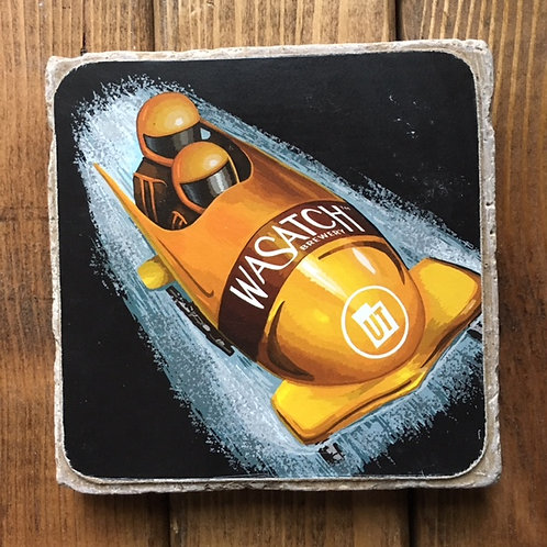 Wasatch Bobsled Brown Ale Coaster