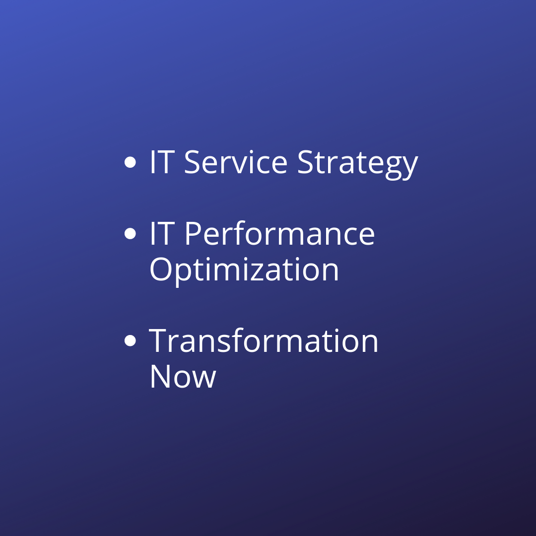 IT Service Strategy IT Performance Optim