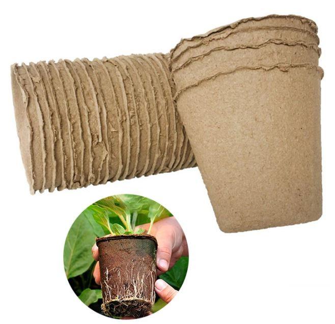 pots utilisé pour les semis, à replanter en terre directement avec le pot.